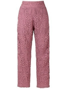 Martha Medeiros camila lace cropped trousers - Pink