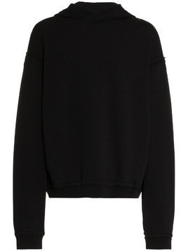 Haider Ackermann floral embroidered cotton hoodie - Black