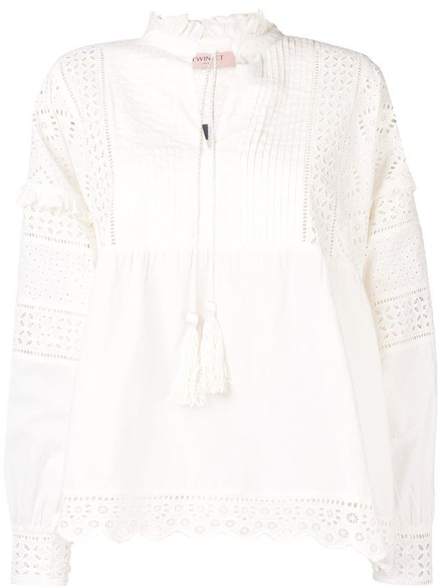 Twin-Set Broderie blouse - Neutrals