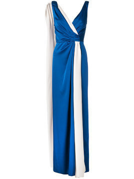 Paule Ka woven sleeveless wrap dress - Blue