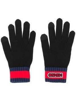 Kenzo logo patch ribbed gloves - Black