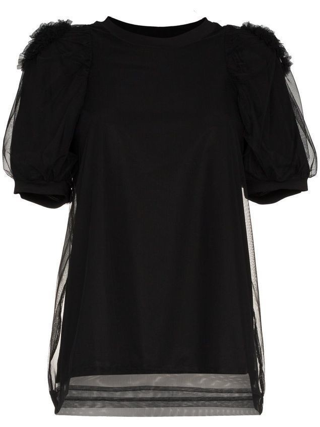 Simone Rocha tulle puff sleeve cotton blouse - Black