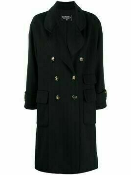 Chanel Pre-Owned double-breasted knee-length coat - Black