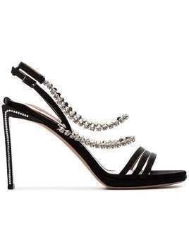 Alchimia Di Ballin black Mya 100 crystal embellished silk satin sandals