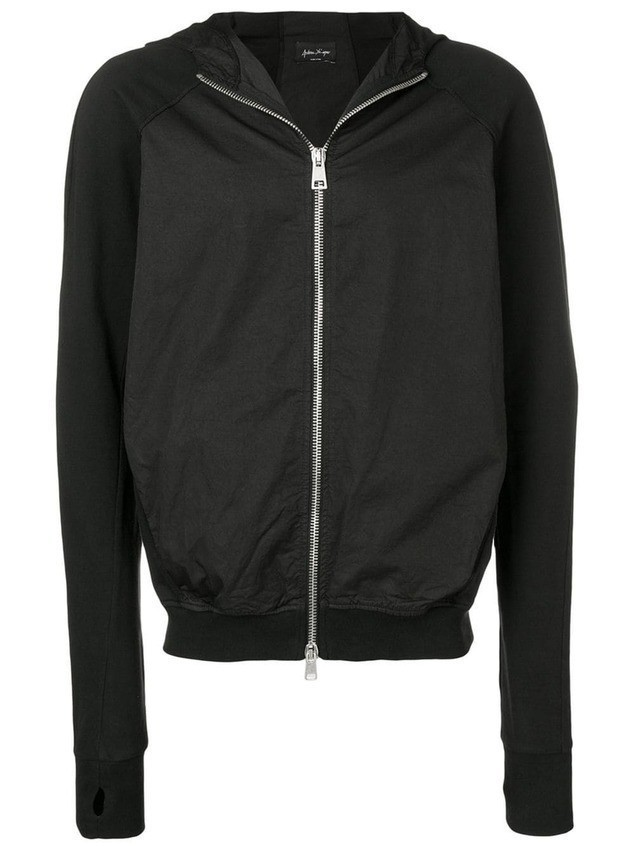 Andrea Ya'aqov elasticated waist zip hoodie - Black