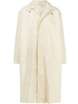 Camiel Fortgens long hooded raincoat - White