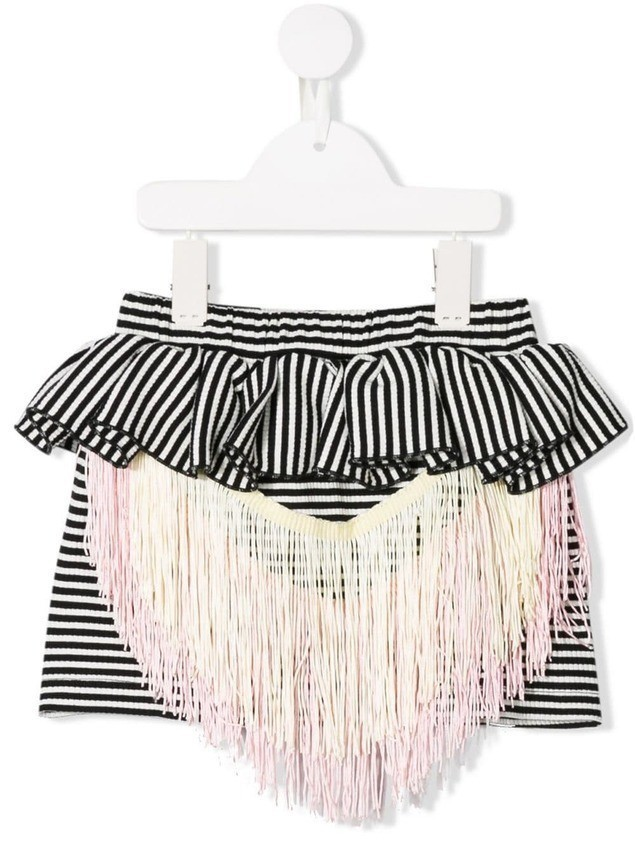 WAUW CAPOW by BANGBANG True Tracy fringe detail skirt - Black