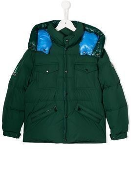 Moncler Kids hooded puffer jacket - Green