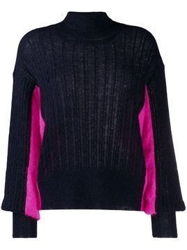 Maison Flaneur turtleneck two-tone jumper - Blue