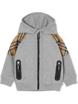 Burberry Kids Vintage Check Panel Cotton Hooded Top - Grey