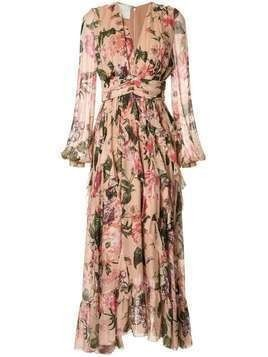 Ingie Paris floral print flared dress - NEUTRALS
