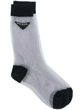 Prada sheer contrasting socks - Grey