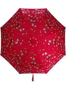 Moschino space-themed logo print umbrella - Red