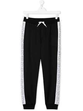 Kenzo Kids TEEN logo trim track pants - Black