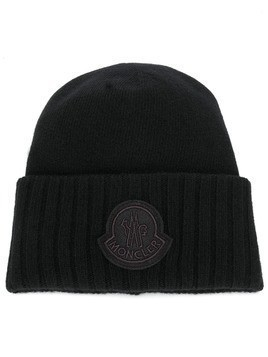 Moncler ribbed logo patch beanie - Black
