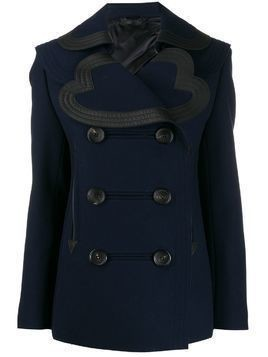 LANVIN double-breasted leather trim jacket - Blue