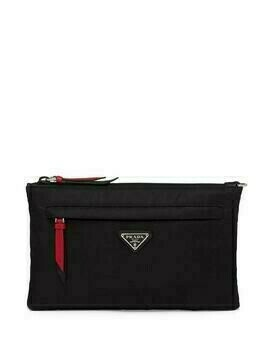 Prada logo plaque pouch - Black