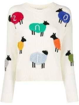 Benetton logo sheep sweater - White