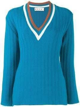 Marni ribbed v-neck jumper - Blue