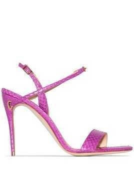 Jennifer Chamandi Tommaso 105mm croc-effect sandals - Pink