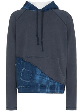 Greg Lauren Contrast hood distressed checked jumper - Blue