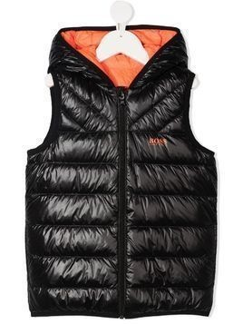 BOSS Kidswear logo print reversible down gilet - Black