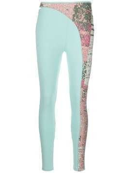 Esteban Cortazar abstract-print panel leggings - Blue