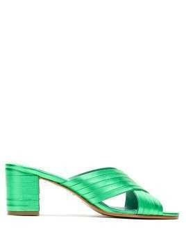 Blue Bird Shoes metallic finish block heel mules - Green