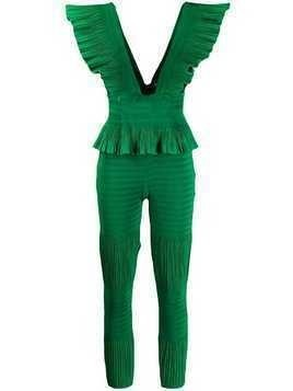 AREA ruffled plunge jumpsuit - Green