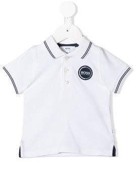 Boss Kids stripe trim polo shirt - White