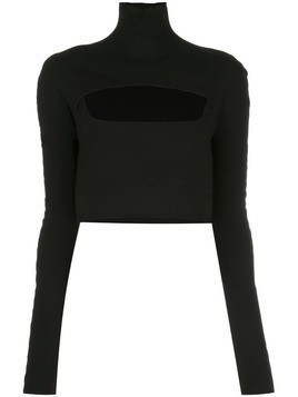 Dion Lee cropped funnel neck top - Black