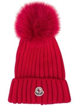 Moncler bobble top beanie - Red