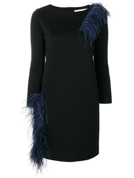 Gianluca Capannolo - Vanessa feather embellished dress - Damen - Wool/Polyester/Polyamide/Ostrich Feather - 44 - Black