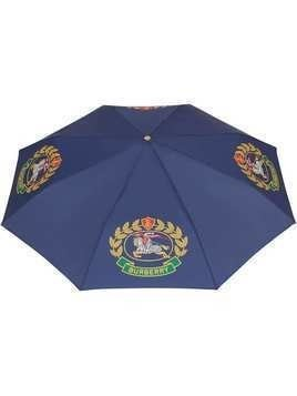Burberry Crest Print Folding Umbrella - Blue