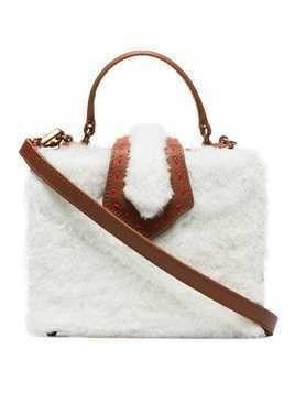 Mehry Mu brown and white fey mini shearling and leather box bag