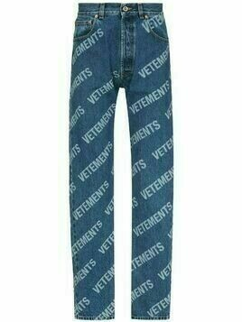 VETEMENTS logo-print straight-leg jeans - Blue