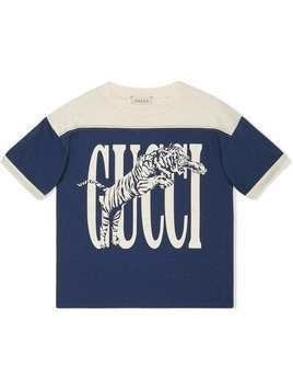 Gucci Kids T-shirt with Gucci tiger print - Blue
