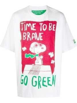 Benetton oversized Peanuts T-shirt - White