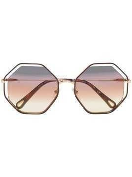 Chloé Eyewear brown and purple poppy hexagon sunglasses