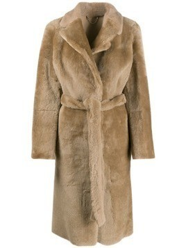 Desa 1972 shearling midi coat - NEUTRALS
