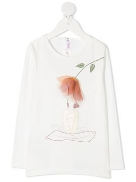 Il Gufo floral-appliqué long-sleeved Tee - White