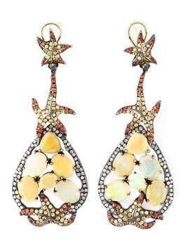 Gemco diamond, sapphire and opal earrings - Yellow