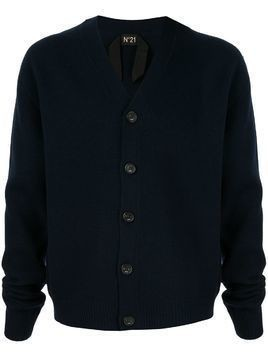 Nº21 raw edge V-neck cardigan - Blue