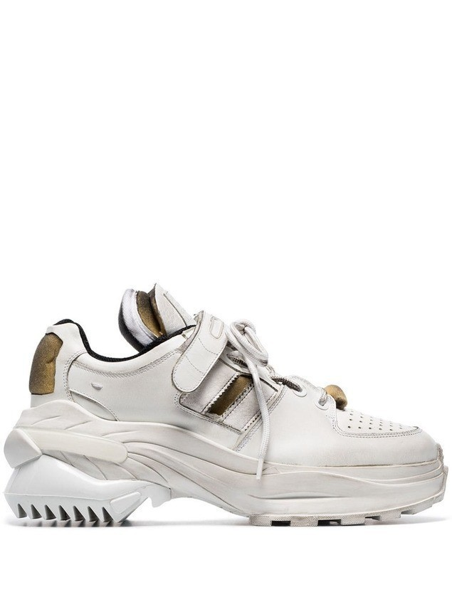 Maison Margiela white artisanal leather low top sneakers