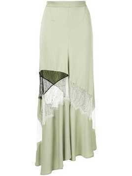 Christopher Esber contrast lace flare skirt - Green