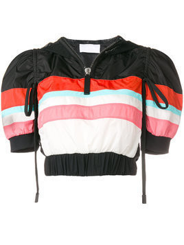 No Ka' Oi cropped striped sports jacket - Black