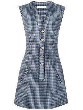 Derek Lam 10 Crosby mouline check dress - Blue