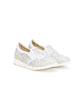 Andrea Montelpare lace slippers - White