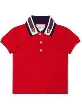 Gucci Kids Baby polo with Web and tiger head - Red
