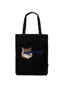 Maison Kitsuné x ADER Bluest Fox embroidered tote - Black